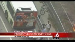 Motorcycle Crashes Into Bus in Miami Gardens