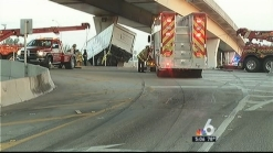 Dangling Box Truck Pulled Onto South Florida Highway Overpass