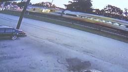 Surveillance Video Shows Brightline Train Hitting Car