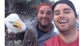 Brothers Take Selfie With Rescued Bald Eagle