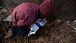 Photos Show Honduran Migrant Parents Guiding Baby Under Wall