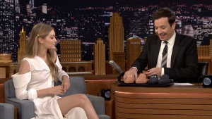 'Tonight': Gigi Hadid Gives Jimmy Fallon One-of-a-Kind Shoes
