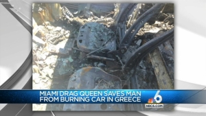 Miami Drag Queen Saves Man from Burning Car in Greece