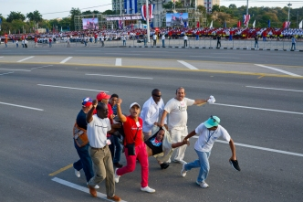 Protester With US Flag Disrupts Cuba's May Day Parade