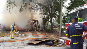 Fire Rescue Extinguishes House Fire in Miami