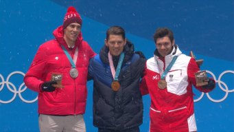 Medal Ceremony: Sweden's Myhrer Receives His Gold Medal