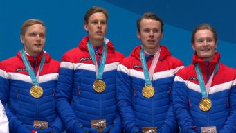 Medal Ceremony: Norway Receives Men's Team Pursuit Gold