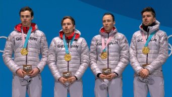 Medal Ceremony: Germany Receives Fifth Nordic Combined Medal