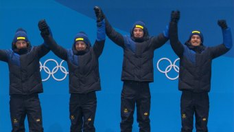 Medal Ceremony: Sweden Gets First Men's 4x7.5km Relay Gold