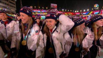 Team USA Enters Olympic Stadium for Closing Ceremony