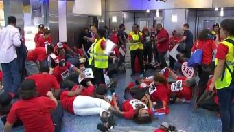 Airline Catering Workers Protest Wages, Healthcare at MIA