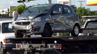 Car Slams Into Miami Bus Bench