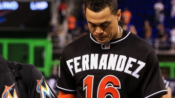 Marlins' Stanton and Ramos Honor Jose Fernandez With Mural