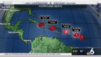 Hurricane Beryl Maintains 80 MPH Winds