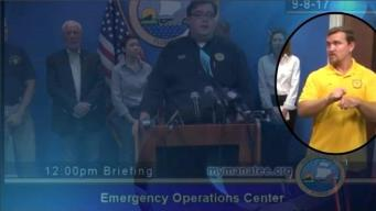 Interpreter for the Deaf Signs Gibberish at Irma Press Conference