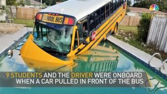 School Bus Plows Into Pool After Crash in Orlando