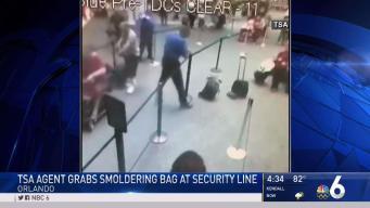 TSA Agent Grabs Smoldering Bag in Orlando Airport