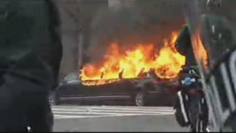 RAW: Limo Engulfed in Flames Near Inauguration Parade