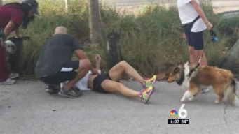 Tire Strikes Runner on Rickenbacker Causeway