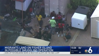 Migrants Land on Fisher Island early Friday Morning