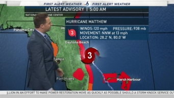 Tracking Hurricane Matthew - 5 AM October 7th