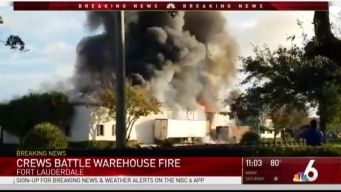 Crews Deal With Massive Fire at Fort Lauderdale Warehouse