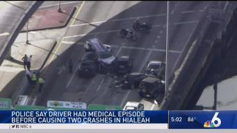 Woman With Medical Issue Causes 2 Crashes in Hialeah