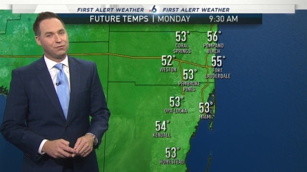 <p>The coldest night of the cool spell will occur late tonight, into Monday morning, as South Florida drops into the 40s under clear skies and light northwest winds. First Alert Meteorologist Ryan Phillips has a look at your forecast.&nbsp;</p>