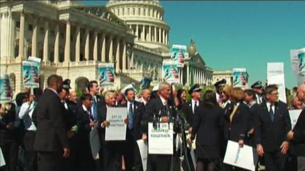 [DFW] American-US Airways Employees Hold Merger Rally