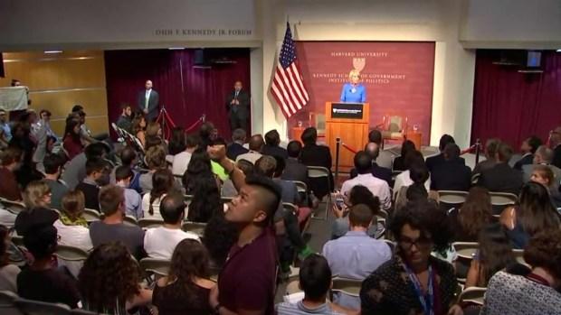 [NATL-NECN] Protesters Hoist Signs at Betsy DeVos' Harvard Speech