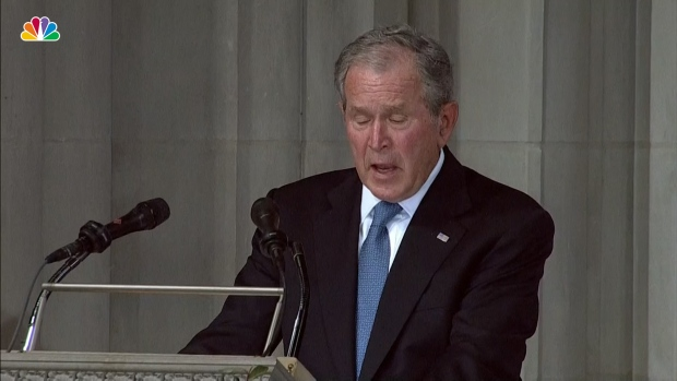[NATL] President Bush: McCain's Voice Will Always Be a 'Whisper Over Our Shoulder'