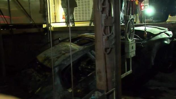 [MI] Car Bursts Into Flames After Garage Plunge