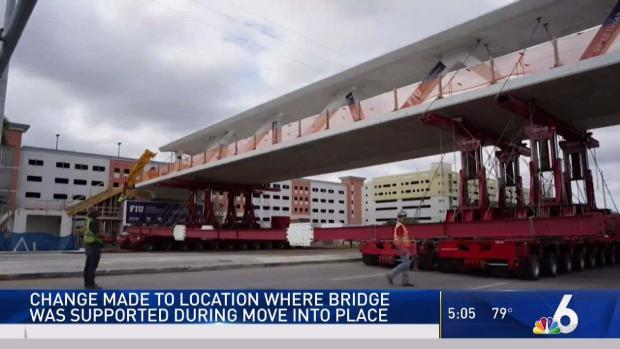 Change Made to Location Where FIU Bridge was Supported During Move Into Place