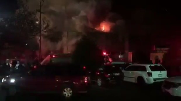 [BAY] RAW: Video Shows Oakland Warehouse Building Engulfed in Flames