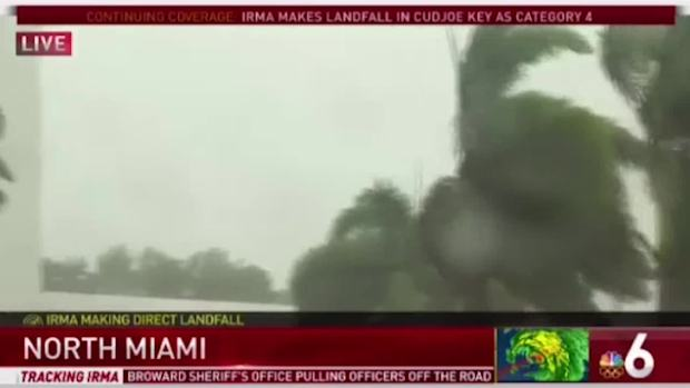 Crane collapses in Miami from Hurricane Irma winds