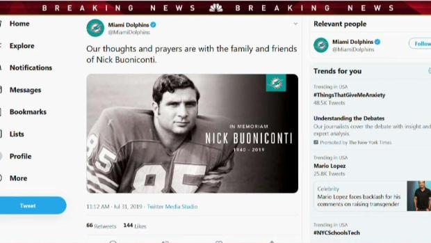 [MI] Dolphins Legend Nick Buoniconti Dies at 78
