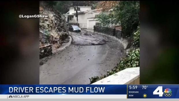 [NATL-LA] Driver Escapes Burbank Mudslide