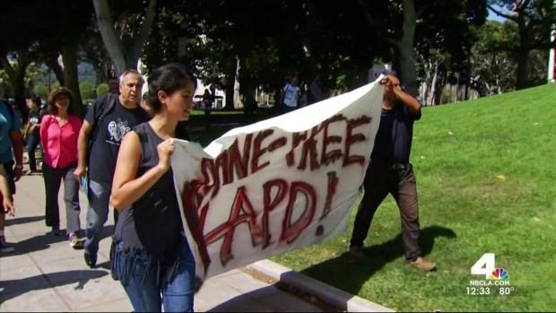 """[LA] City Hall Protesters Demand """"Drone Free LAPD"""""""