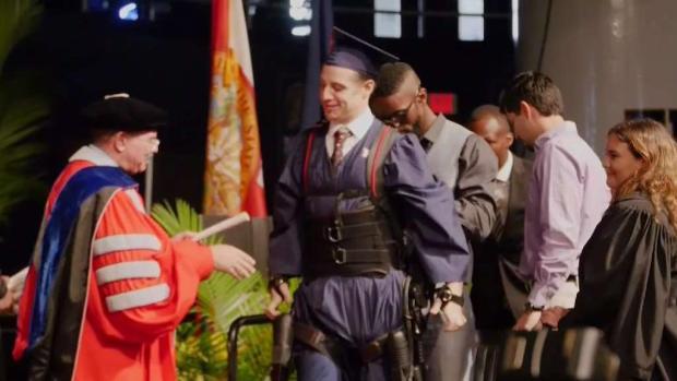 FIU Student Uses Exoskeleton to Walk at Graduation