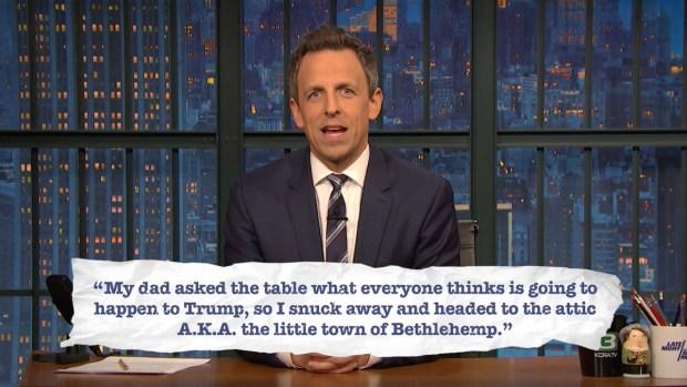 [NATL] 'Late Night': Seth Explains Teen Slang, Holiday Edition