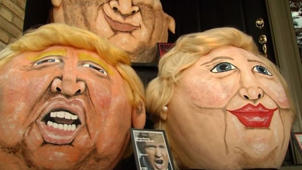 Pumpkins Get Political With Trump, Clinton, Putin Faces