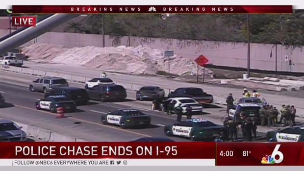 Suspect in Custody After Police Chase on I-95 in Broward