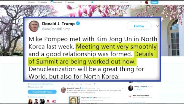 [NATL] Trump: CIA Chief Secretly Met With Kim Jong Un