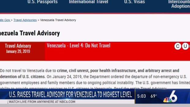 [MI] US Raises Venezuela Travel Advisory to Highest Level