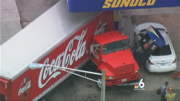 [MI] Coca-Cola Truck Crashes Into Sunoco Gas Station in Hollywood