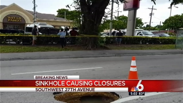[MI] Sinkhole Causes Delays on Busy Miami Roadway