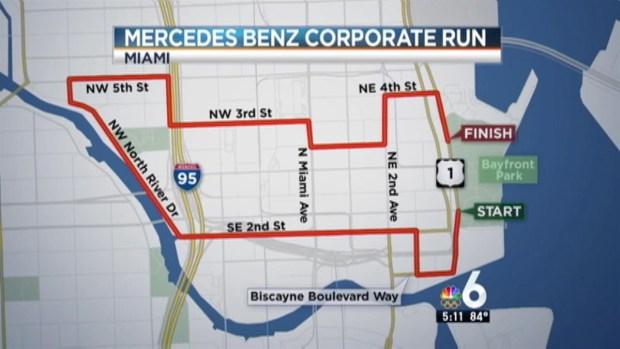 Road closures for 2016 mercedes benz corporate run nbc 6 for Mercedes benz financial report 2016