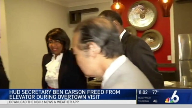 HUD Secretary Ben Carson Stuck in Miami Affordable Housing Elevator