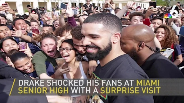 Drake Surprises Students at Miami High School Web