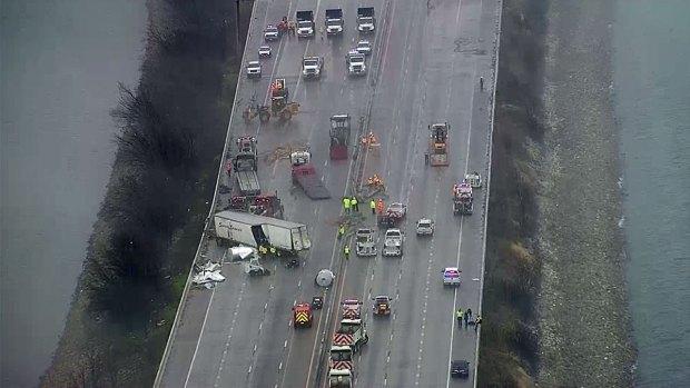 Massive Crash Closes I-30 Over Lake Ray Hubbard